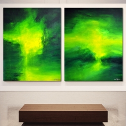 THE DARK SIDES OF OUR EMERALD GREEN MOON. diptych 2018. 250 x 150 x 4,5 cm