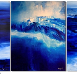 SEA AND SKY AND MELANCHOLIA AT THE END OF SUMMER II. triptych 2017. 380 x 150 cm