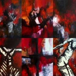 NUR DURCH SIE BIN ICH UND NICHT. Polytychon. 2009. six acrylic/oil paintings combined. 300 x 240 cm