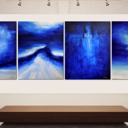 DEEP BLUE DAYS DOWN BY THE SEA. quadriptych 2019. horizontal hanging: 540 (w) x 150 (h) cm
