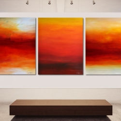 FROM THE FIRST PROMISING LIGHT TO THE VERY LAST LIGHT. triptych 2020. 380 x 150 cm . 149,6 x 59,1 inches