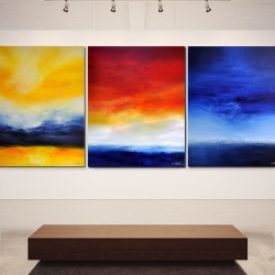 TIME IS DANCING FROM SUNSET TO SUNRISE. triptych 2017. 380 x 150 x 2 cm