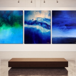 SEA AND SKY AND MELANCHOLIA AT END OF SUMMER. triptych 2016. 380 x 150 cm